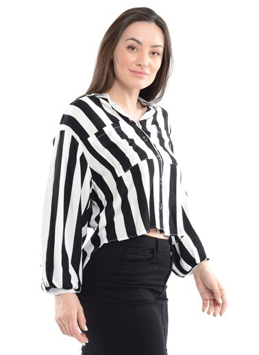 Reyon Çift Cep Çizgili Kadın Gömlek Lacivert Siyah